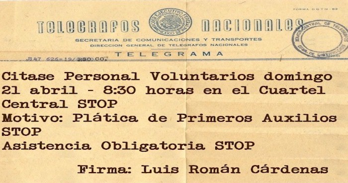 Citatorio al Personal Voluntario para el domingo 21 de Abril a las 08:30 horas en el Cuartel Central